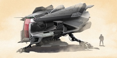 Concept art for a spaceship in Kova. Black Hive Media.