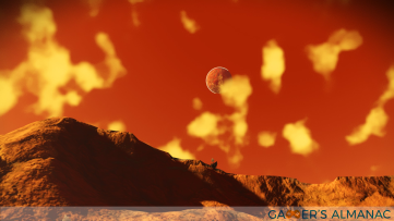 A red planet in the distance