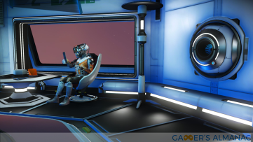 A member of the Korvax race at a trading post in a space station