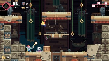 You aren't the only one with endless ammo, your enemies are sharpshooters too! Flinthook, developed by Tribute Games.
