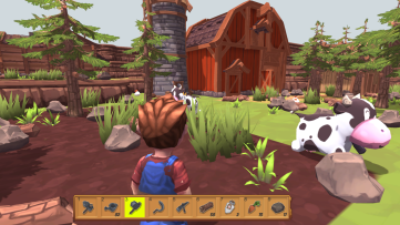The player character has many tools at his disposal in the inventory. Farm-Folks, developed by Bisonbit