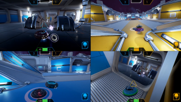 Four players share the screen. Hoverloop, developed by Not a Company.